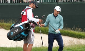 Jordan Spieth showed his disapproval to caddie Michael Greller during his one-over opening round of 72 at Pebble Beach.