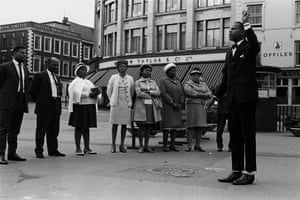 Outdoor ServiceAn Afro-Caribbean Christian church group hold an evangelical meeting in Derby town centre on a Sunday afternoon, 1970.