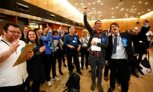 Conservative party supporters in high spirits after the count at Wandsworth.