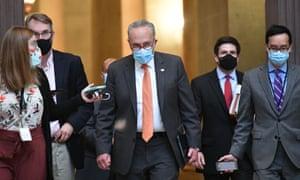 Senate Minority Leader Chuck Schumer arrives at Nancy Pelosi's office for coronavirus relief talks.