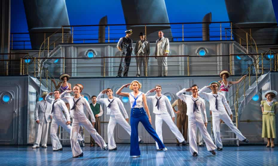 Sutton Foster, centre, and cast in Anything Goes at the Barbican.