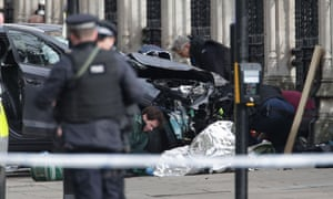 Police close to the Palace of Westminster