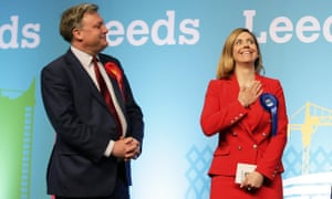 Ed Balls looks on as the Conservative candidate Andrea Jenkyns celebrates after being elected as a member of parliament for Morley and Outwood. Reuters/Craig Brough