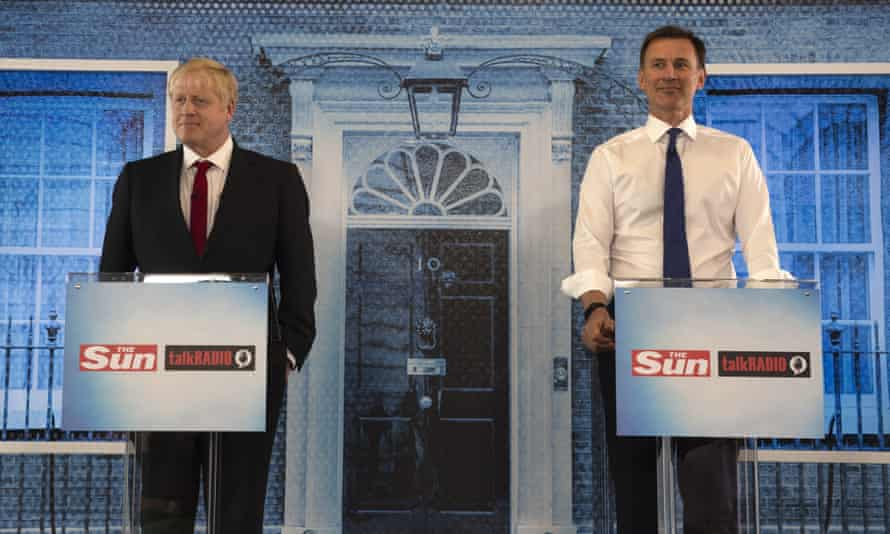 Boris Johnson and Jeremy Hunt take part in a hustings debate on Monday.