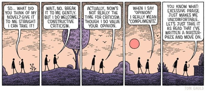 Tom Gauld on how to give an author constructive criticism – cartoon   Books    The Guardian