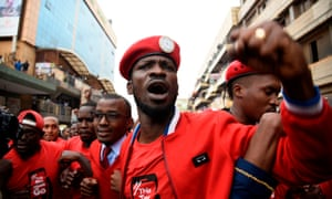 Protesters in Kampala on 11 July, led by MP and musician Robert Kyagulanyi, aka Bobi Wine. Police used teargas to to disperse them.