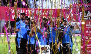 Worcestershire Rapids celebrates as they lift the trophy following their victory over the Sussex Sharks in the Vitality Blast final.