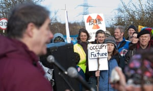 Jonathan Porrit talks to protesters at the gates of Hinkley Nuclear power station