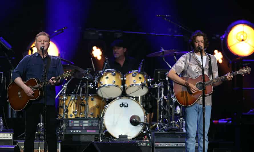 Don Henley and Deacon Frey of Eagles performing at Wembley Stadium.