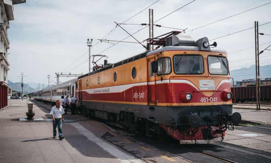 Train in Podgorica station, Montenegro.