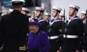 The Queen at the commissioning ceremony for HMS Queen Elizabeth in Portsmouth today