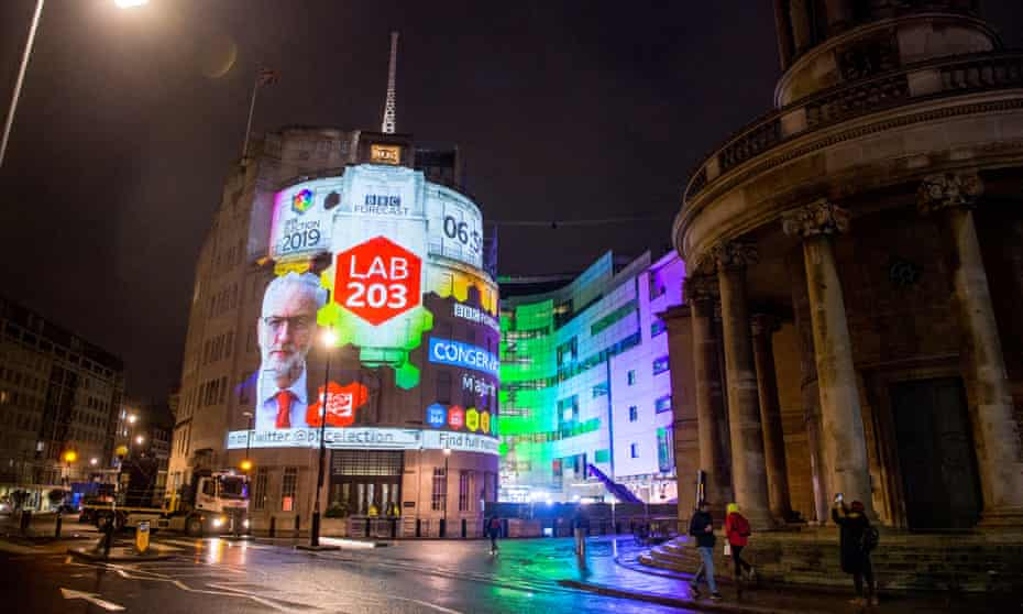 The exit poll is projected on to the side of the BBC's Broadcasting House building in London on election night.