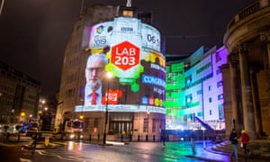The BBC projects its final general election forecast on to Broadcasting House in London.