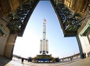 The Long March II-F rocket carrying the China's first space station module Tiangong-1