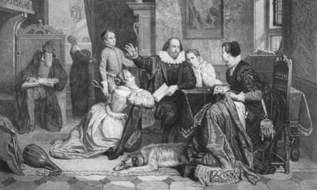 Illustration of William Shakespeare reciting his play Hamlet to his family. His wife, Anne Hathaway, is sitting in the chair on the right; his son Hamnet is behind him on the left; his two daughters Susanna and Judith are on the right and left of him. Circa 1890.