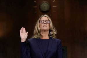 Christine Blasey Ford is sworn in before testifying