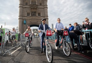 Mayor of London Sadiq Khan cycles across Tower Bridge in London, which is closed to traffic as part of World Car Free Day