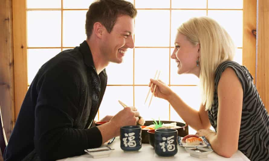 Couple in a Japanese restaurant