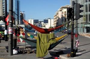 Anti-government protesters sleep in hammocks in Beirut, Lebanon
