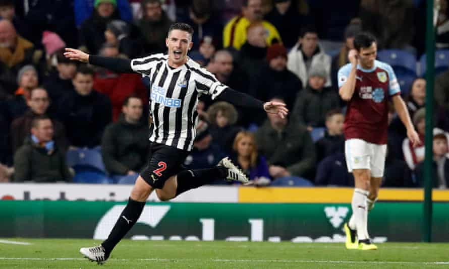 Ciaran Clark celebrates after scoring what proved to be the winning goal on a rare Monday night victory for Newcastle.