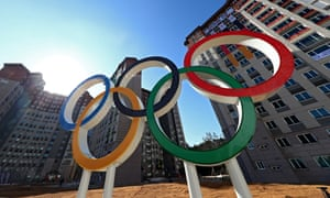 The Olympic rings are seen at the Olympic Village in Pyeongchang.