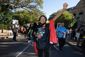 Leetona Dungay, the mother of David Dungay Jr, leads the Stop Black Deaths in Custody protest as they head into Sydney's Domain