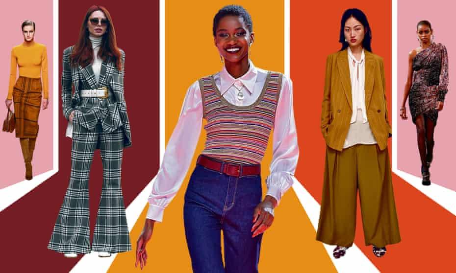 From left: Hermes, street style, Tommy Hilfiger, Zara and Altuzarra. Illustration: Guardian Design