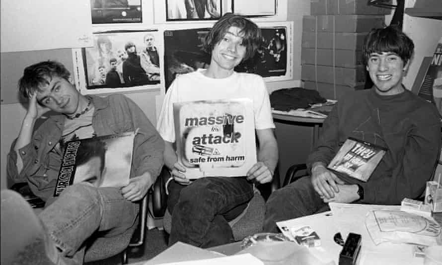 Blur's Damon Albarn, Alex James and Graham Coxon review the singles in the NME offices, 1991.