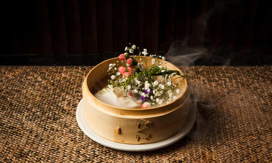 Plum in a golden vase, made with a Chinese cheese similar to halloumi by Andrew Wong.