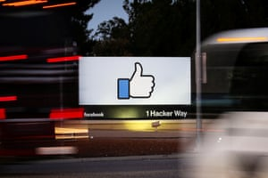 The entrance sign to Facebook headquarters in Menlo Park, California.