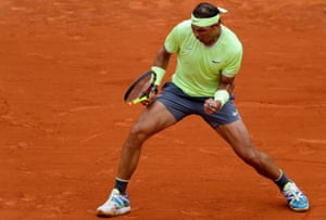 Rafael Nadal reacts after winning a point as he seals the third set 6-1.