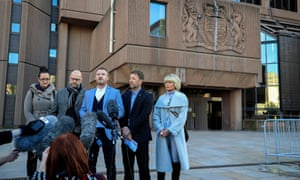 Three of Bennell's victims speak to the media outside Liverpool crown court after the paedophile was convicted.