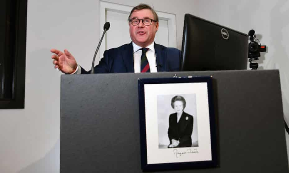 Mark Francois addressing the Bruges Group in London in April.