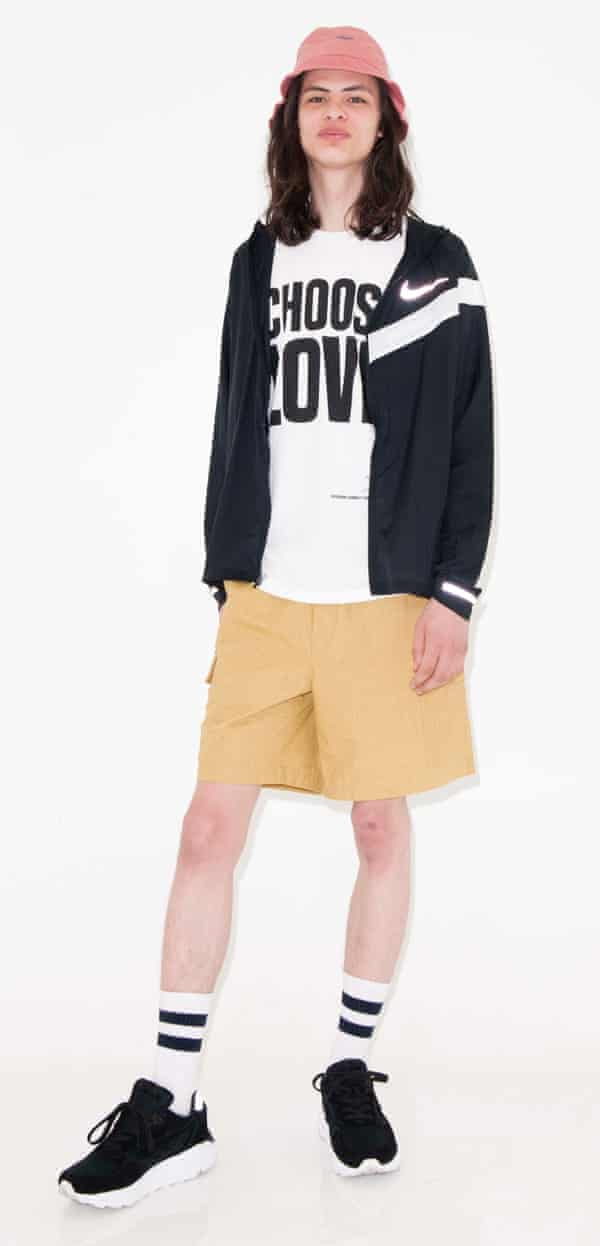 Wilf Hat, £65, by Battenwear, available from Mr Porter. Running jacket from a selection, by Nike. T-shirt, £19, by Katharine Hamnett for Help Refugees, from Asos. Shorts, £129, by Noah, from Dover Street Market. Trainers, £150, by Hi-Tec, from Slam Jam Socialism.