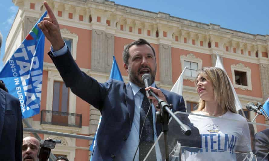Matteo Salvini speaking at a campaign rally in Lecce, southern Italy