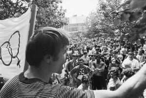 Robinson Speaks Before First Gay Pride March, 1969One month after the demonstrations and conflict at the Stonewall Inn, activist Marty Robinson speaks to a crowd of approximately 200 people before marching in the first mass rally in support of gay rights, New York, New York, July 27, 1969.