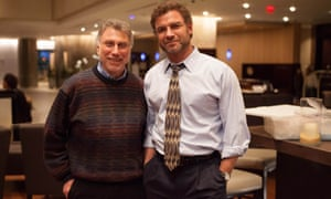 Marty Baron with Liev Schreiber on the set of Spotlight.