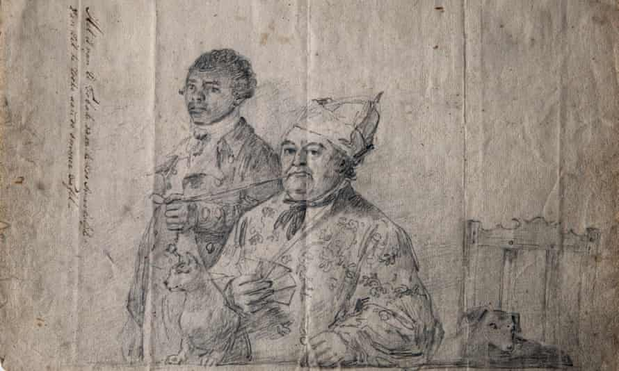 A sketch of a person of colour holding another man's pipe as he smokes it