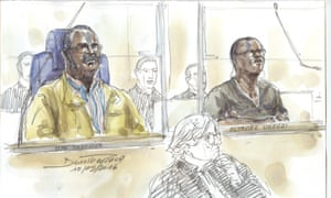 Courtroom sketch of Tito Barahira (left) and Octavien Ngenzi (right) at their Paris trial.