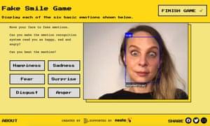 Sebuah game di situs Emojify, yang mendemonstrasikan teknologi pengenalan emosi AI