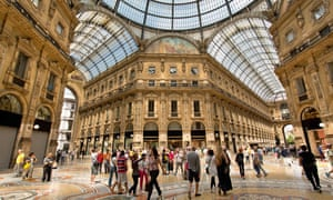 Tourists at the Galleria Vittorio Emanuele II shopping mall in Milan, Italy.