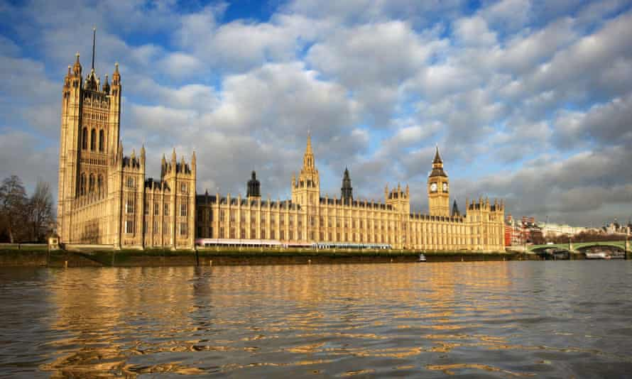 A general view of the Houses of Parliament on the banks of the River Thames