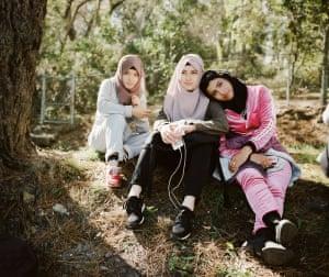 Recent arrivals to Australia on humanitarian visas, friends Zarifa, Samina and Nasima in the Blue Mountains