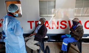 The Transvaco Covid-19 vaccine train stationed at the Springs Train Station outside of Johannesburg.
