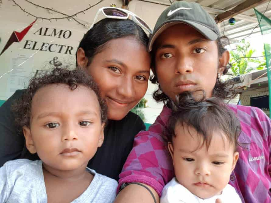 Haroon Rashid with his wife Molly, son Mohammed (left) and daughter Almeera (right) on Manus Island in Papua New Guinea Rashid.
