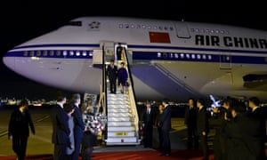 President Xi Jinping and his wife Peng Liyuan arrive at London's Heathrow airport.