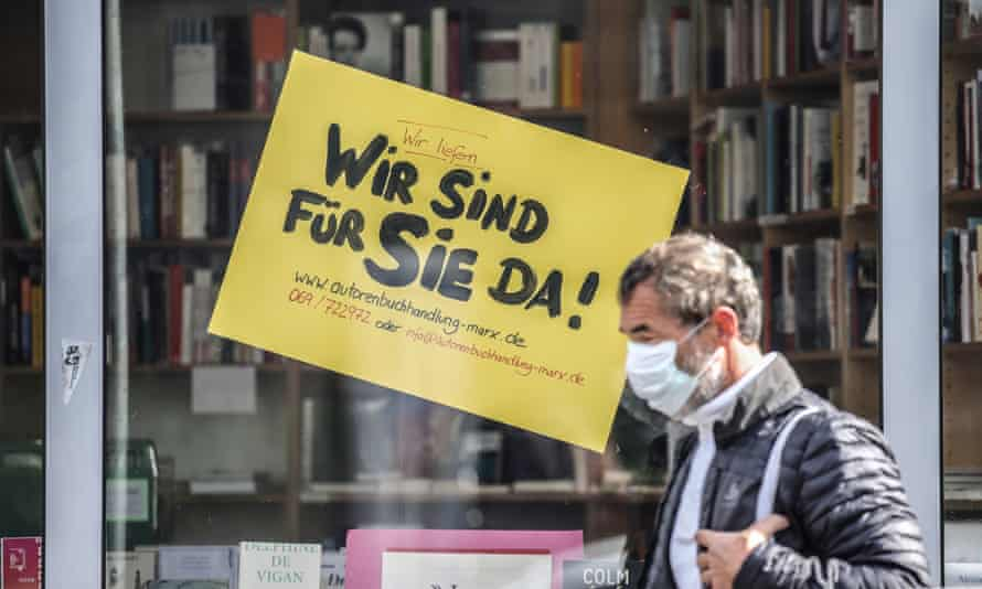 A sign in the window of a closed Frankfurt bookstore on Wednesday, reading 'We are here for you'