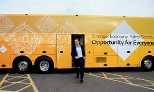 Nick Clegg emerges from the Liberal Democrats election tour bus in May 2015.