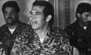 Gen Efraín Ríos Montt talking to the press in Guatemala City in 1982, the year that the military junta took power.