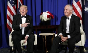 US President Donald Trump meets with Australian Prime Minister Malcolm Turnbull aboard the USS Intrepid, a decommissioned aircraft carrier docked in the Hudson River in New York on 4 May 2017.